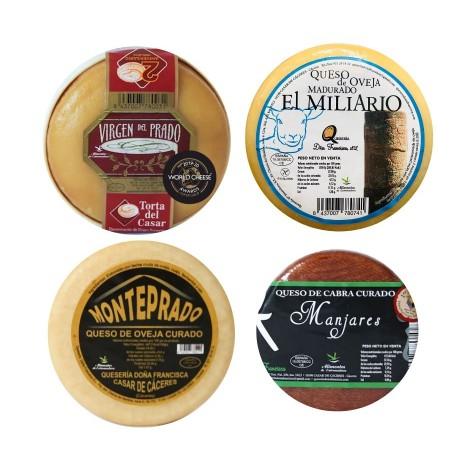 Lote 5 quesos (Torta del Casar D.O.P Virgen del Prado M, Miliario M, MontepradoM y Manjares S)