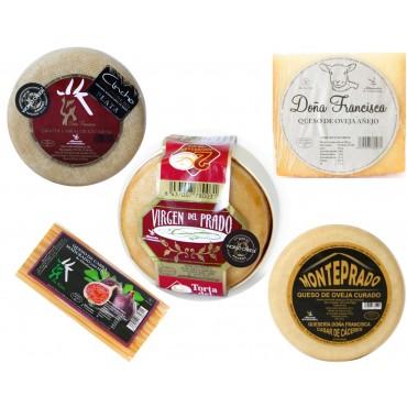 Lote 5 quesos (Torta del Casar D.O.P Virgen del Prado,  Manjares, Monteprado, Trufado,  Semicurado y Rulo Miel y Nueces