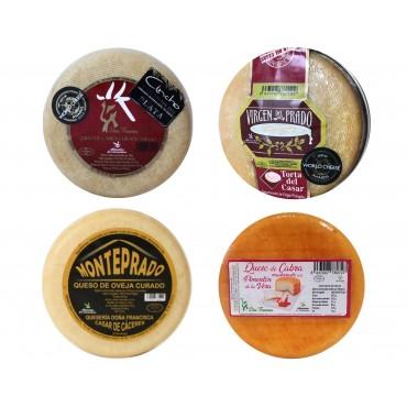 Lote 4 quesos (Torta del Casar D.O.P Virgen del Prado, Sudao, Manjares, Monteprado y Semicurado Doña Francisca)