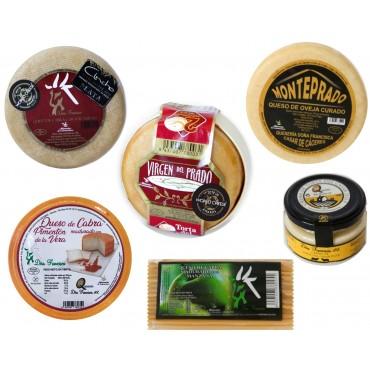 Lote 6 quesos (Torta del Casar, Queso Fresco, Manjares, Semicurado Oveja,  Rulo y Tarro de crema)